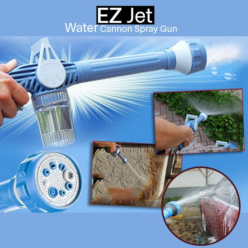 EZ Jet Water Canon 8 Adjustable Nozzle Multi-Function Spray Gun with Built-in Soap Dispenser As Seen
