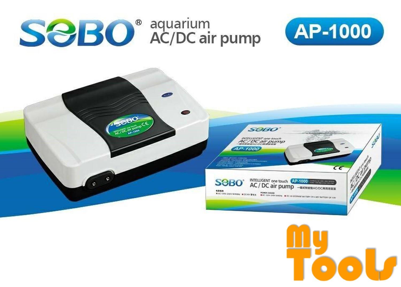 Sobo AP-1000 Auto AC / DC Air Pump Aquarium Pump Double Outlets - 2 X 240 l/hr
