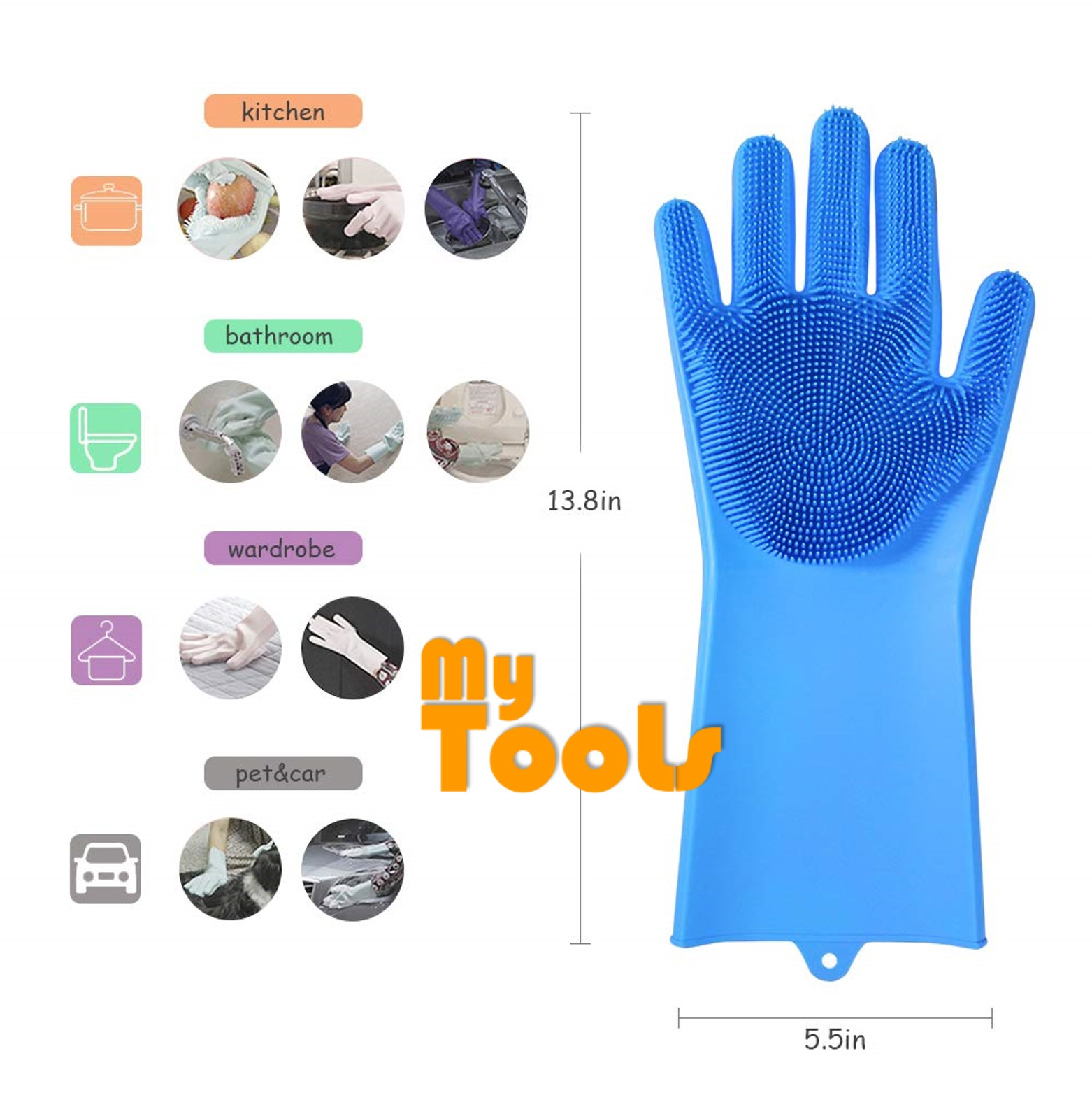 ce5ef77bb Mytools 1 Pair 2PCS Magic Silicone Scrubber Rubber Cleaning Gloves Dusting  Dish Washing