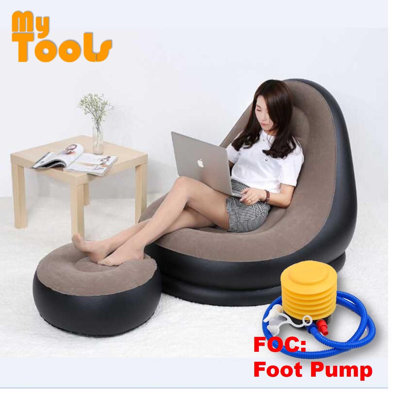 Tremendous Mytools Inflatable Air Sofa Seat Chair W Foot Rest Lounge Air Bed Mattress Foc Foot Pump Machost Co Dining Chair Design Ideas Machostcouk