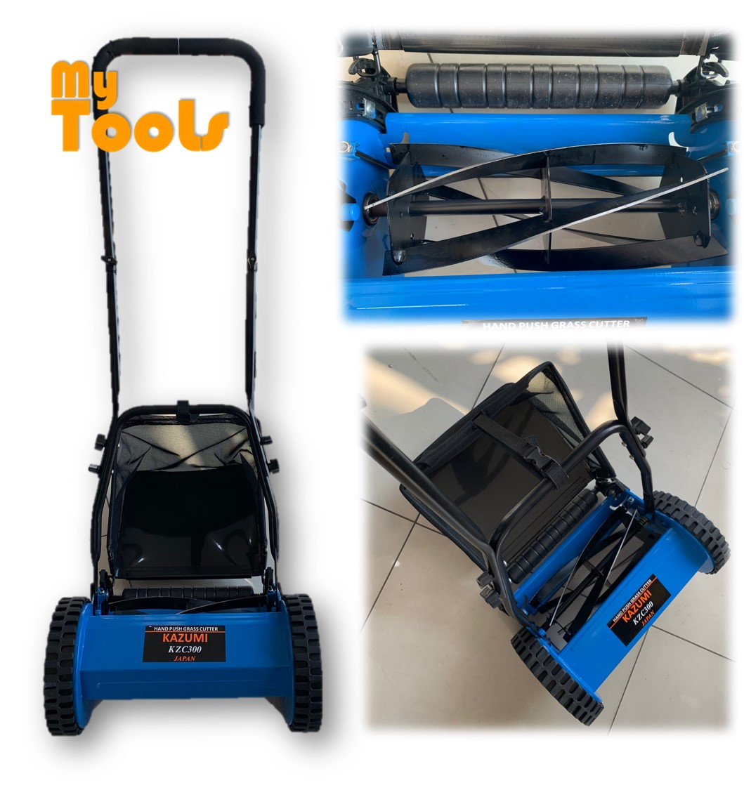 Kazumi KZC-300 300mm Manual Hand Push Lawn Mower Brush Cutter Rotary Mover With Grass Basket