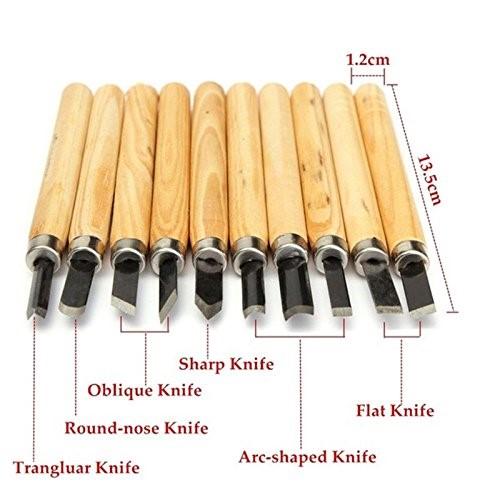 Mytools 10 pcs Wood Carving Set Chisel Wooden Handle Engraving Tool Wood Hand Craft