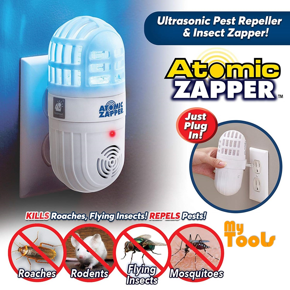 Mytools Atomic Repellent Bug Zapper Indoor Ultrasonic Pest Repeller Insect