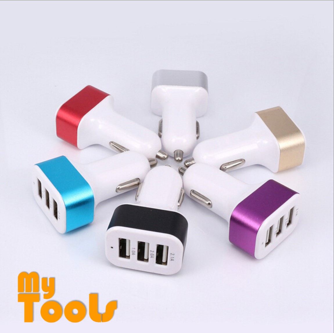 Mytools 3 Port USB Universal Car Charger Adapter Socket Triple Car-charger 2.1A 2A 1A