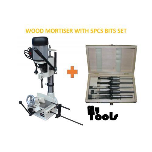 Wood Mortiser Machine / Mortising / Square Hole Maker With 5pcs Mortising Bit Set