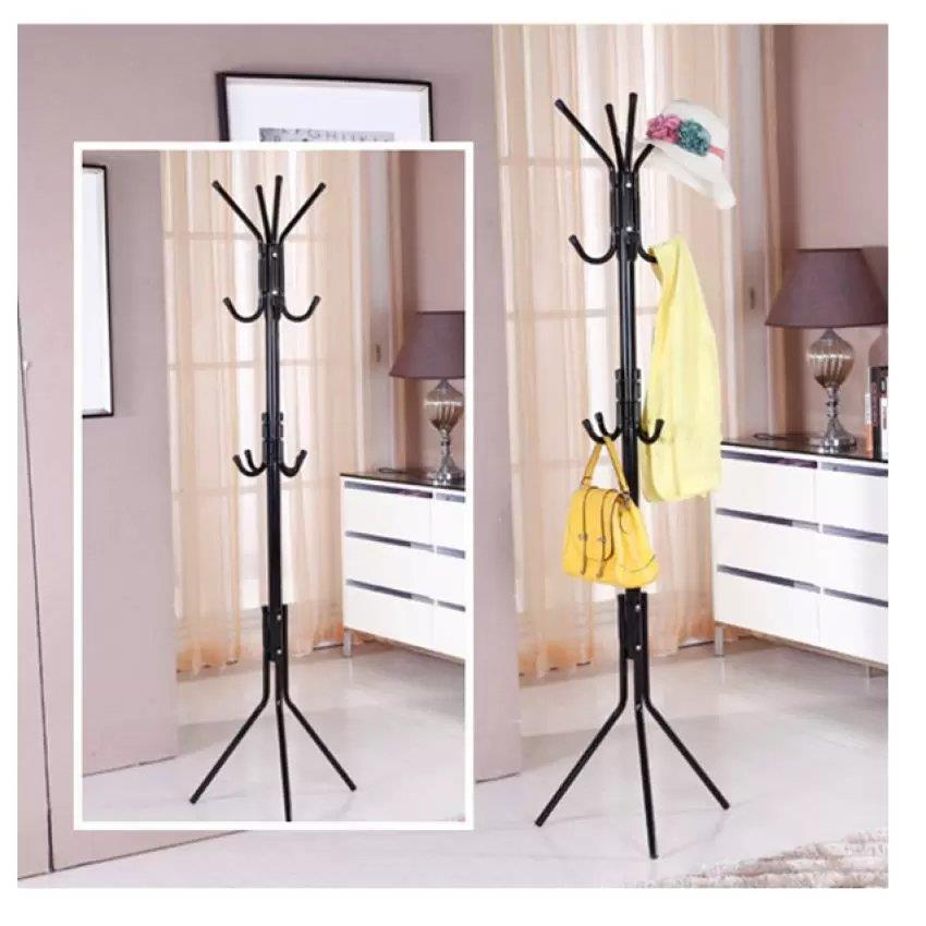 12 Hooks Hanging Pole for Hat Clothes Jacket Umbrella and Handbag- Black