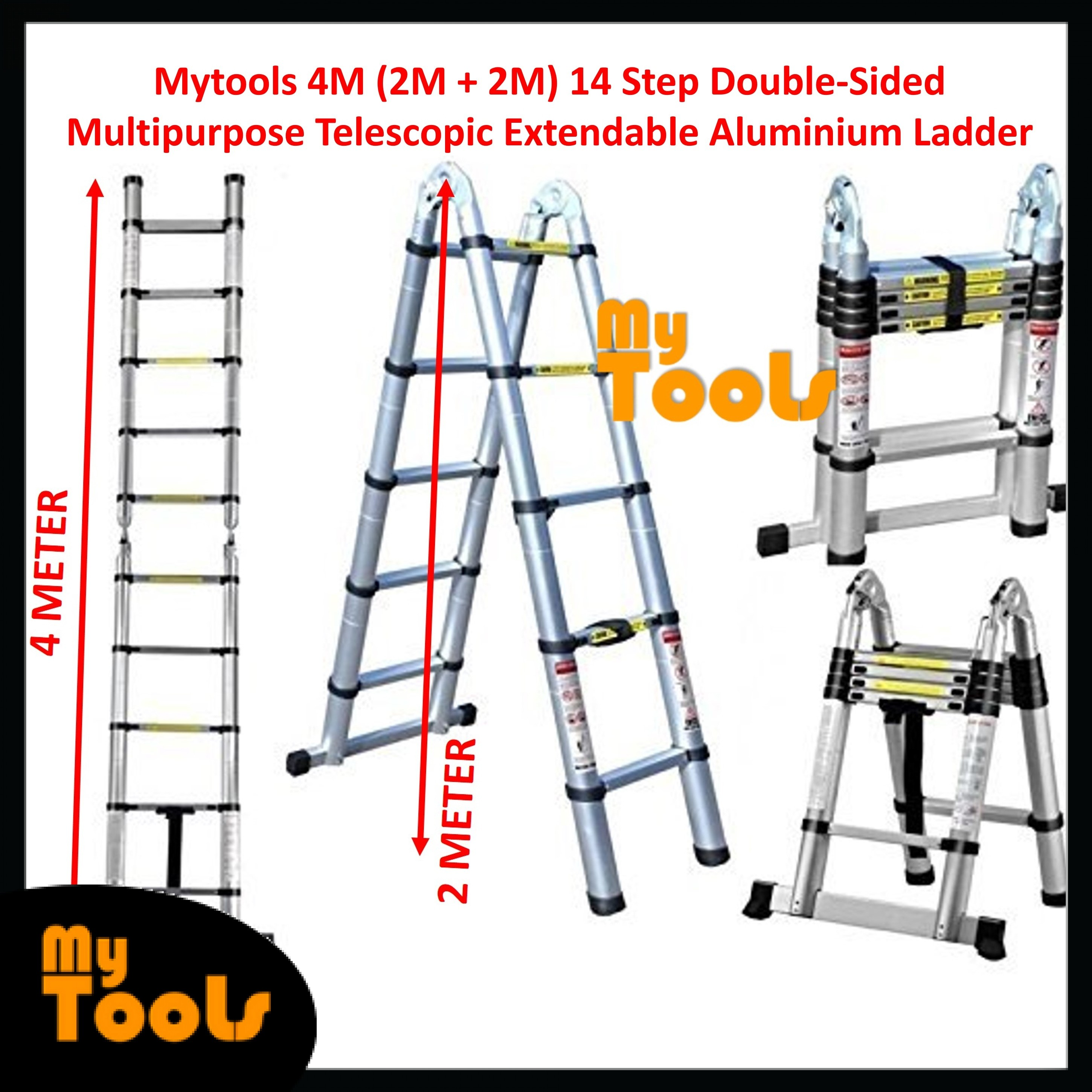 Mytools 4M (2M + 2M) Double-Sided Multipurpose Telescopic Extendable Aluminium Ladder