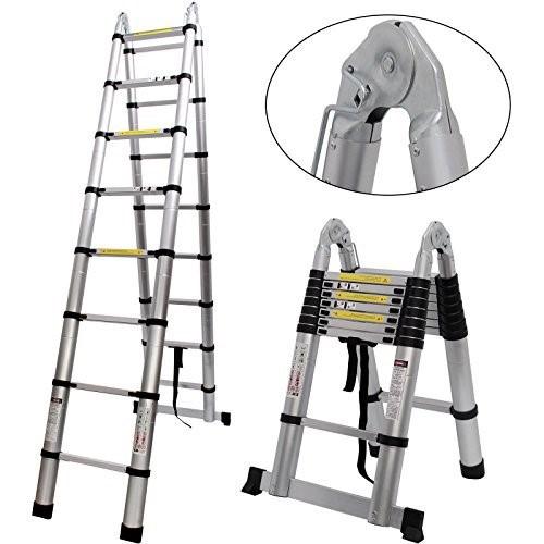 Mytools 4M (2M + 2M) Double-Sided Multipurpose Telescopic Extendable Aluminium Ladder