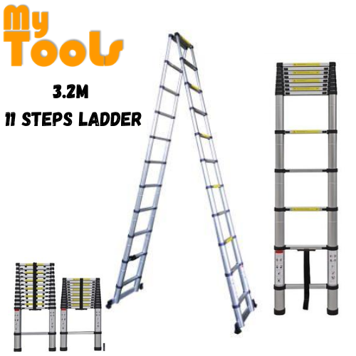 Mytools 3.2M + 3.2M Double-Sided Multipurpose Telescopic Extendable Aluminium Ladder