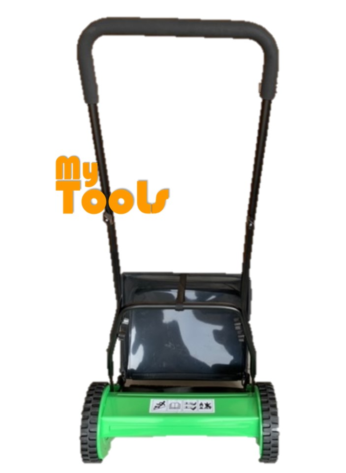 "Mytools 300 400 450mm 12"" 16"" 18"" Manual Hand Push Lawn Mower Brush Cutter Rotary Mover With Grass Basket"