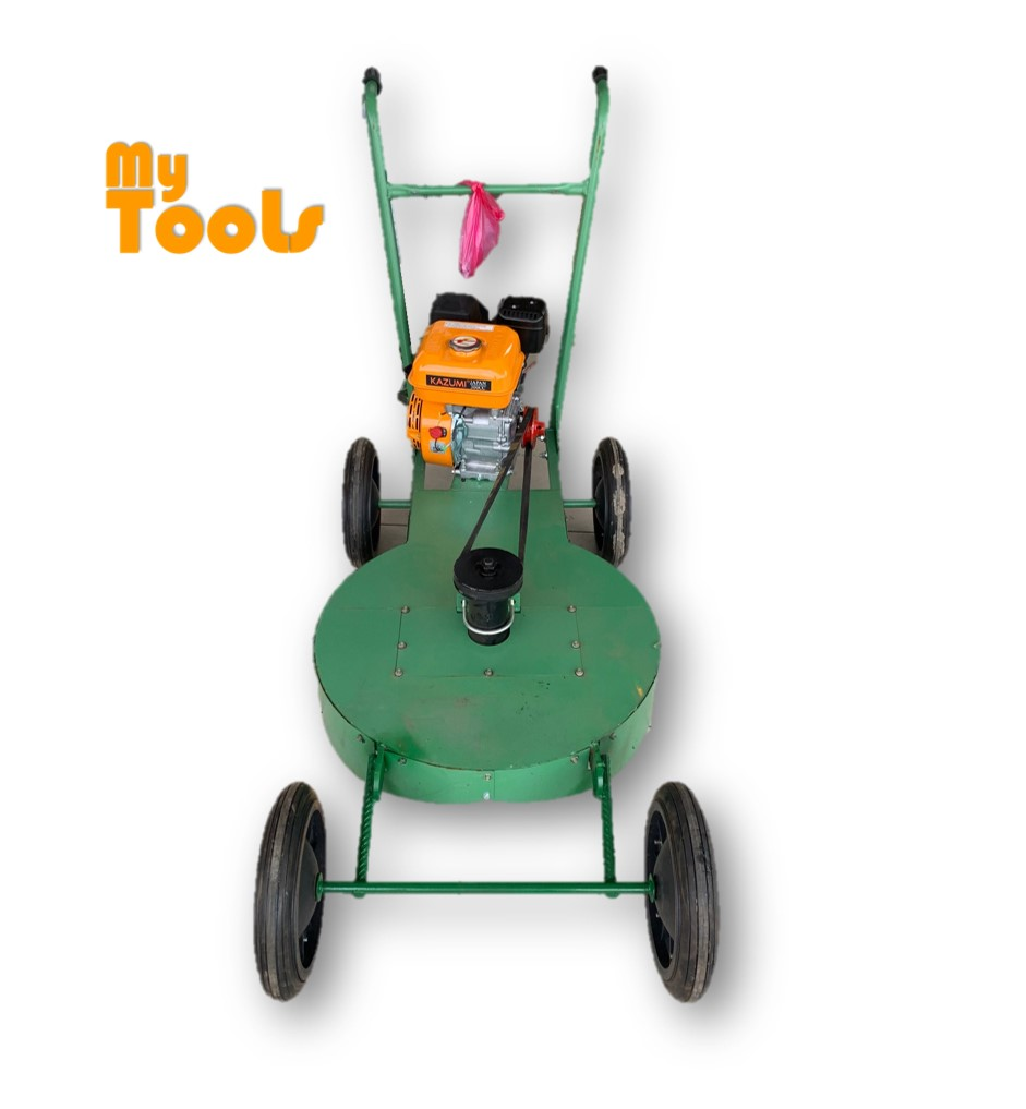 "Lawn Mower Green 24"" 600mm Brush Grass Cutter 4 Big Wheels c/w Kazumi Japan 8HP Petrol Engine OR 6.5 Petrol Engine"
