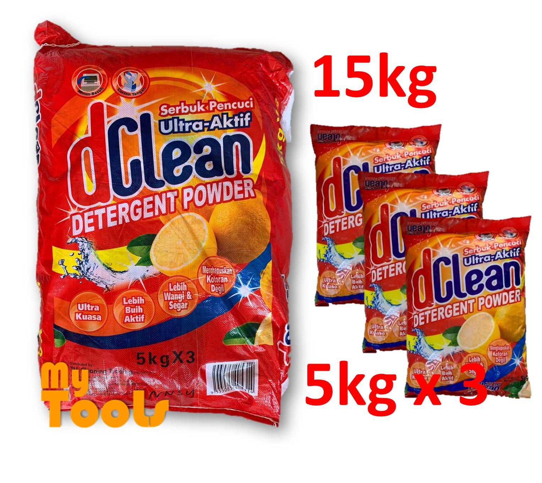 Mytools D Clean Washing Detergent Powder Laundry Serbuk Pencuci 15kg (5kg x 3)