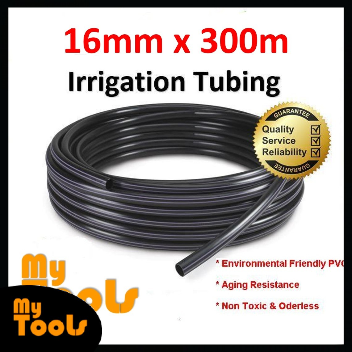 Mytools 16mm x 300Meter Irrigation Water Tubing Pipe Polytube Hose LDPE 16 / 13mm Polypipe Poly Tube Fertigasi polipaip