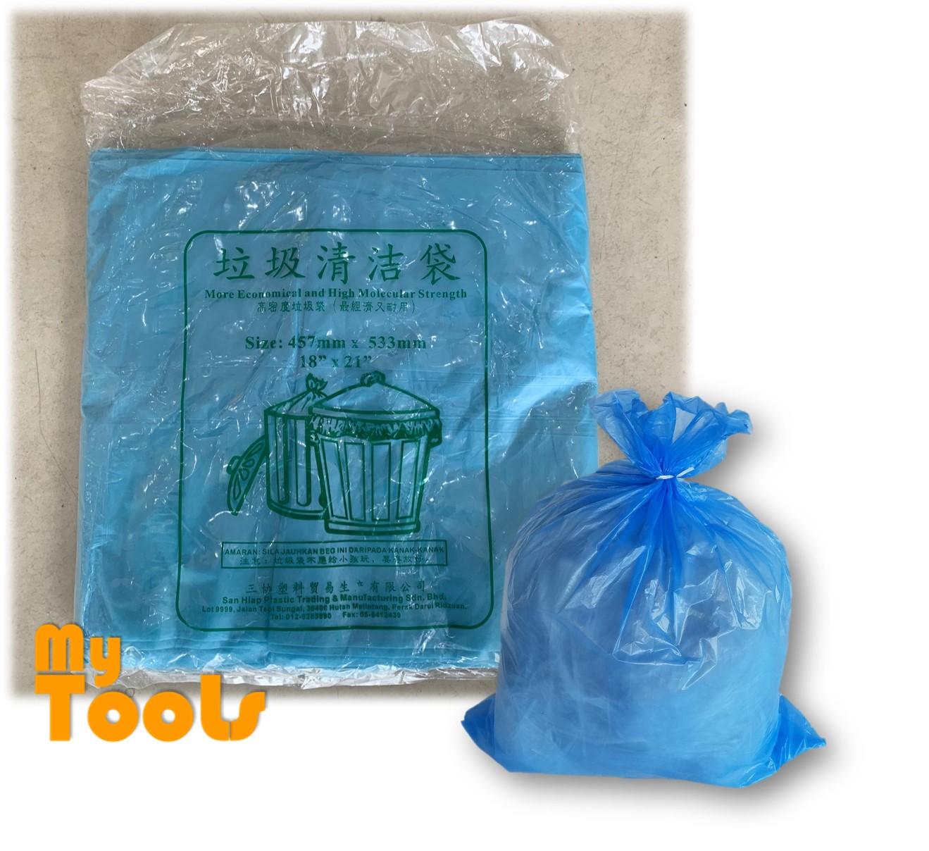 Mytools 30pcs Blue HDPE Garbage Bag / Rubbish Bag / Beg Sampah 47cmX54cm Small