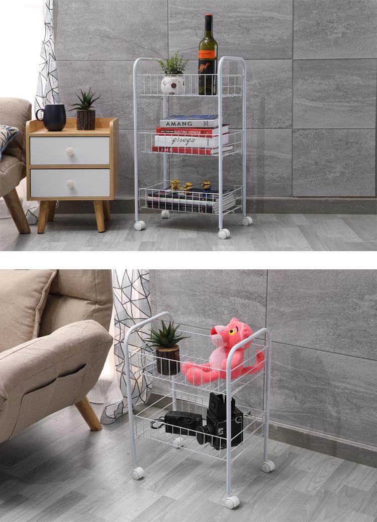 Mytools 3 Tiers Multi-purpose Kitchen Metal Trolley Rack Home Room Storage Office File Organizers Basket Cart
