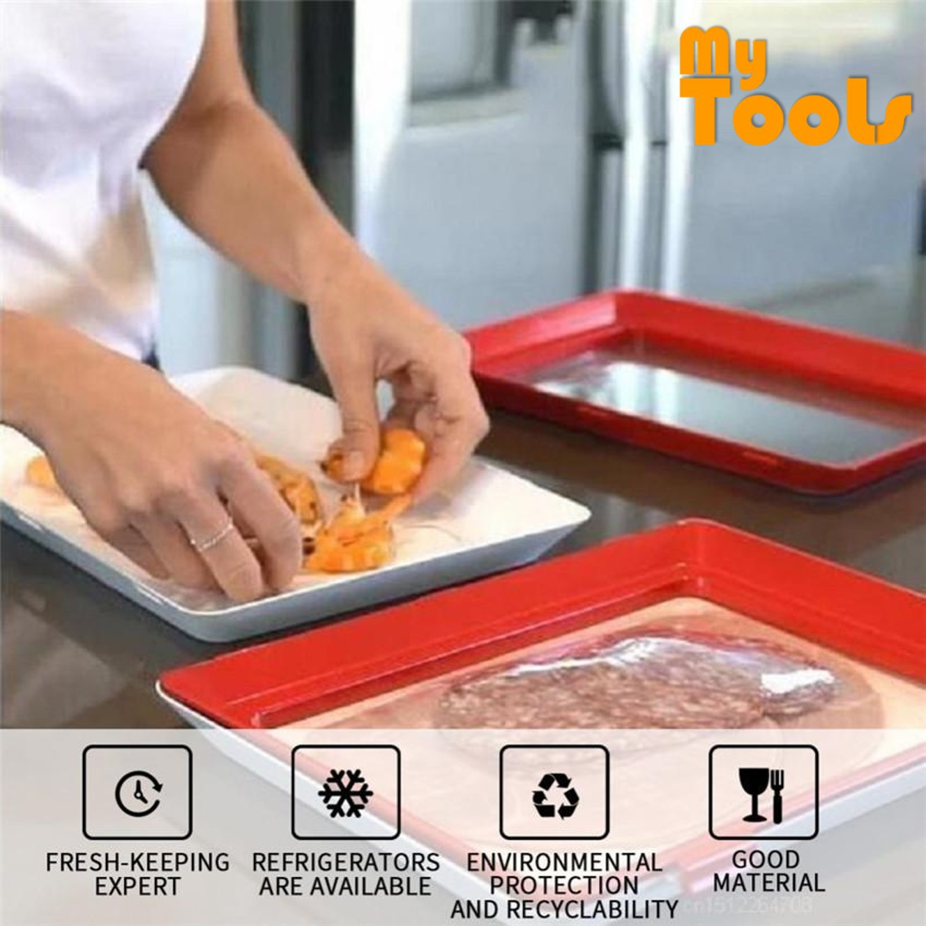 Mytools Healthy Creative Food Preservation Tray Kitchen Tools Container Kitchen Dining Trays Seal Vacuum Storage Lid