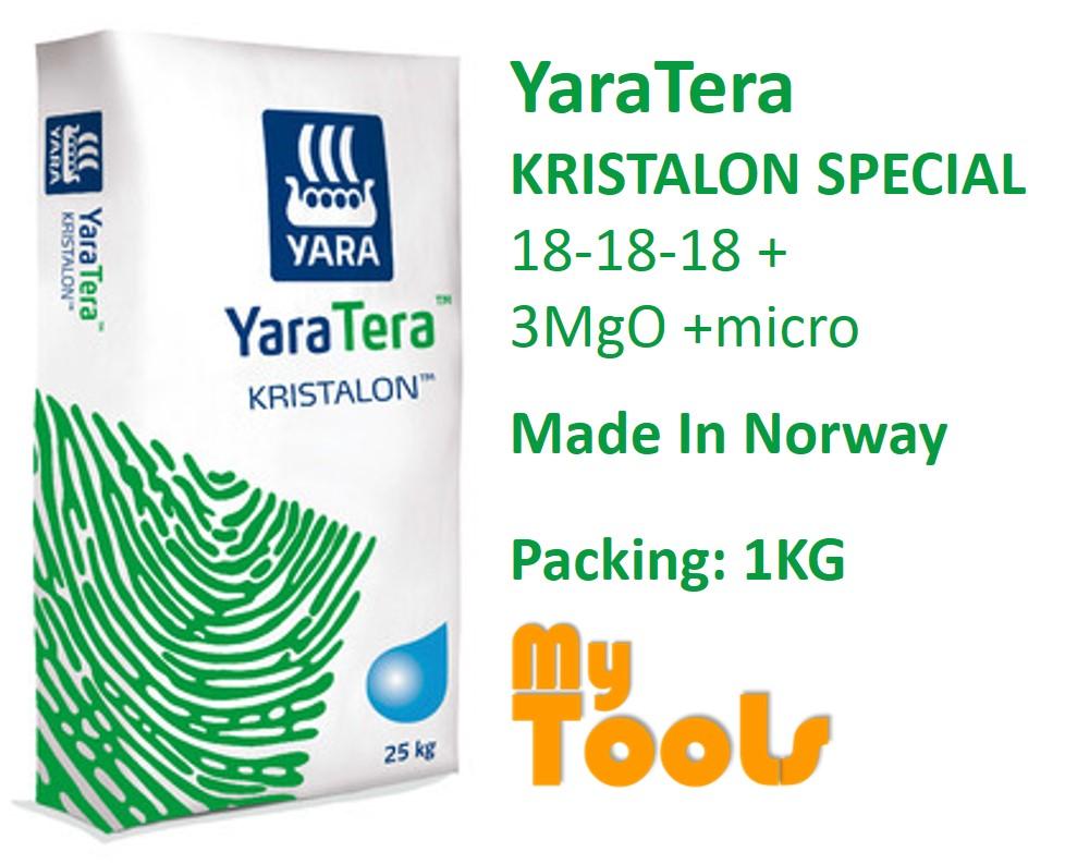Yara YaraTera KRISTALON SPECIAL 18-18-18 +3MgO +micro 1KG Water Soluble NPK Fertilizer Foliar Baja Air (From Norway)
