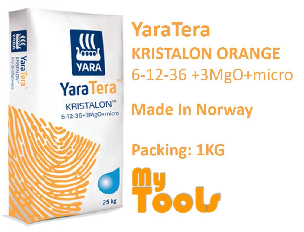 Yara YaraTera KRISTALON ORANGE 6-12-36+3MgO+MICRO 1KG Super K Water Soluble NPK Fertilizer Foliar Baja Air (Norway)