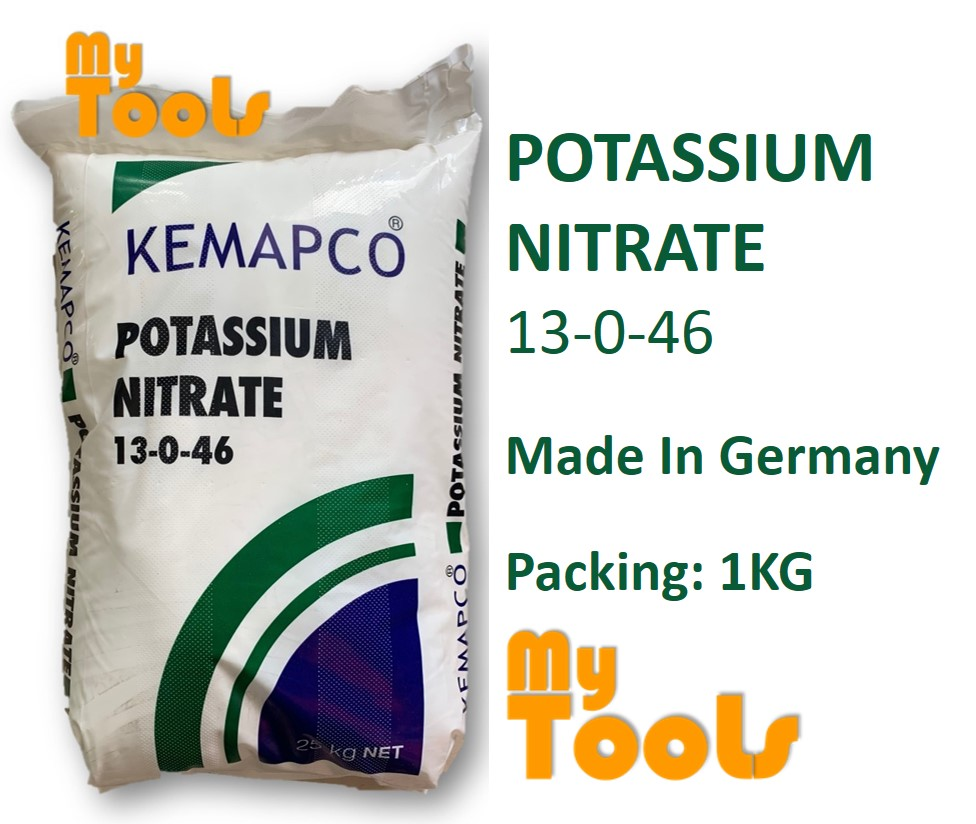 Mytools AG 1kg Potassium Nitrate 13-0-46 MacroNutrients Macro Nutrients Greenhouse Fertilizer Baja AB Sayur Daun Buah Fertigasi Hydroponic (Made In Germany)