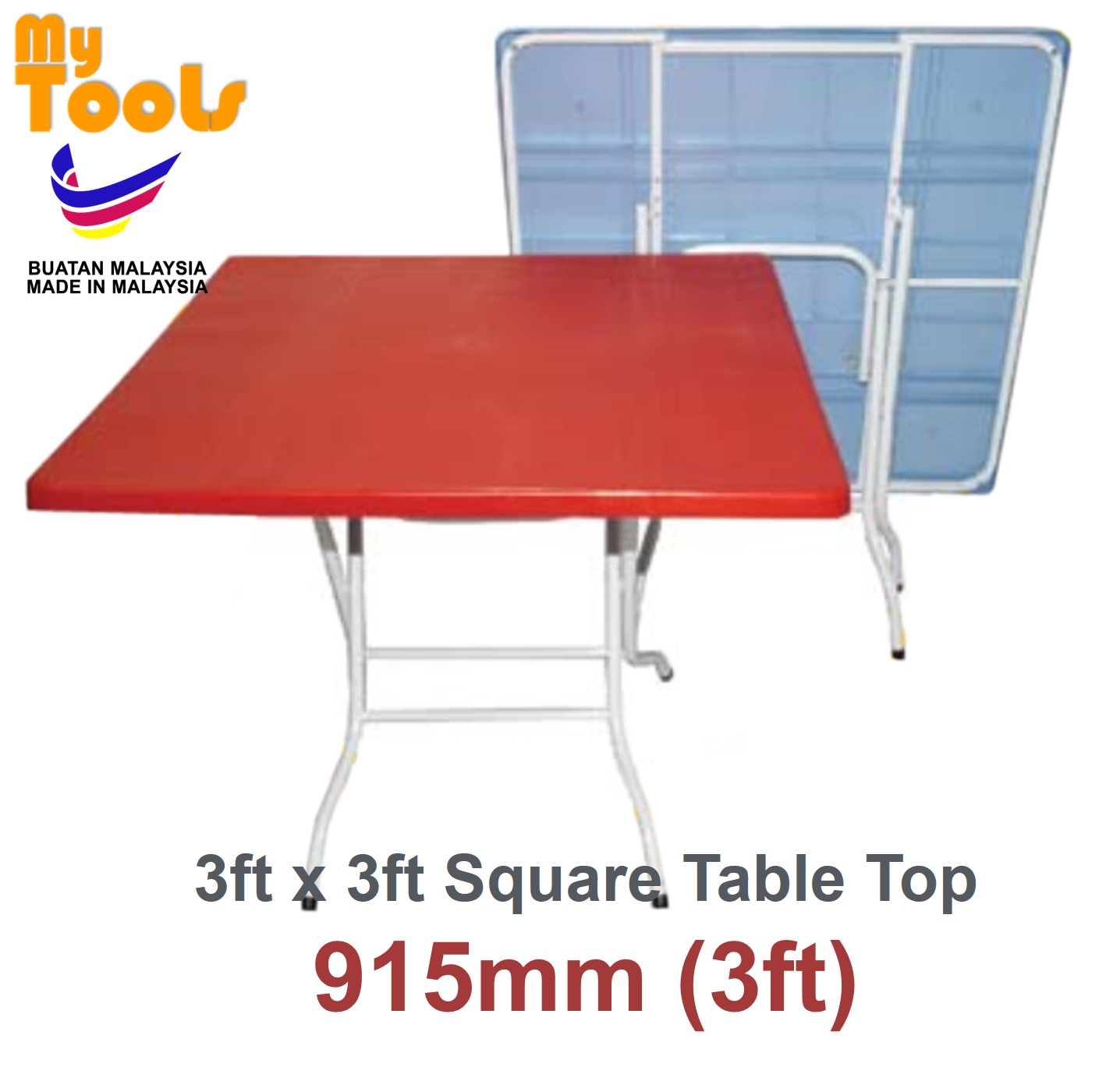 Mytools 3ft x 3ft Square Foldable Plastic Table (Made In Malaysia)