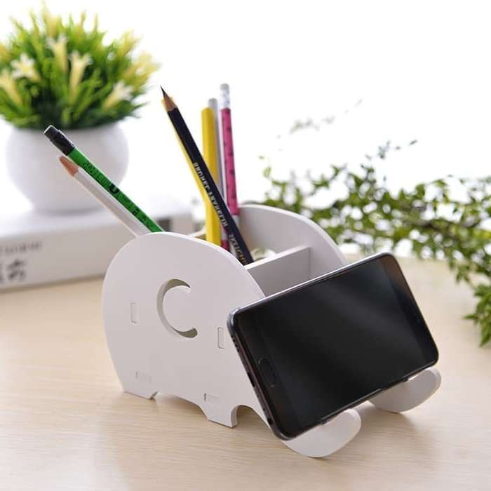 Mytools Elephant Multi functional Wooden Storage Phone Pen Holder Bracket for students kids Stationary Office school Supplies