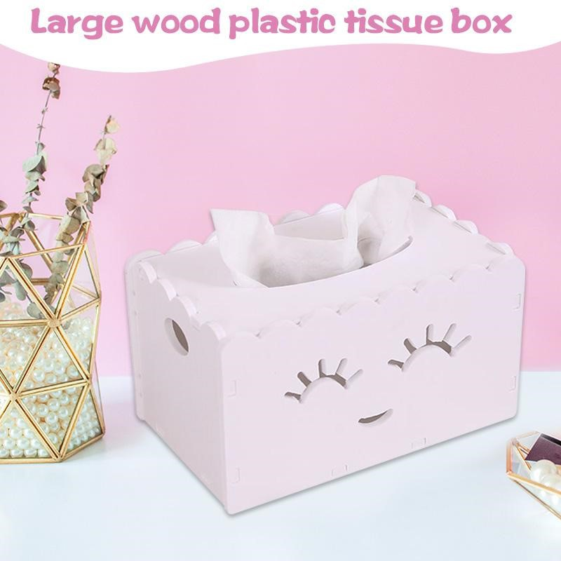 Mytools White Wooden Creative Space Saver Tissue Box Paper Towel Holder