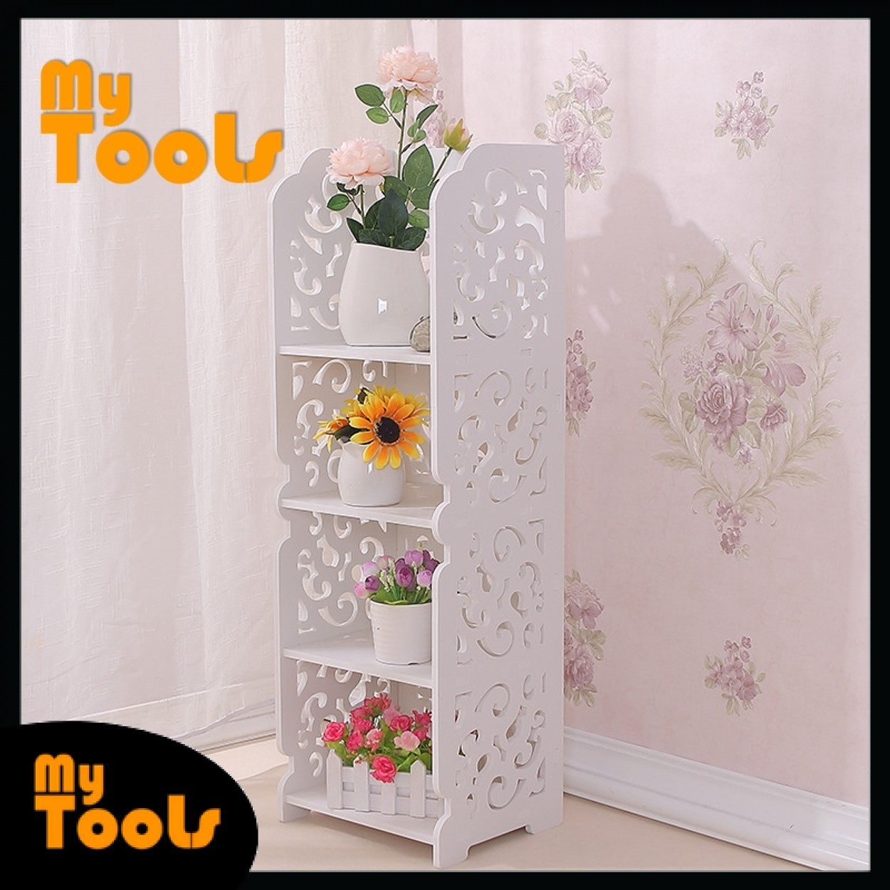 Mytools 4 Tier Shelf Storage Display Wall Mounted Shower Rack Stand Europe Style Modern Wooden Board White