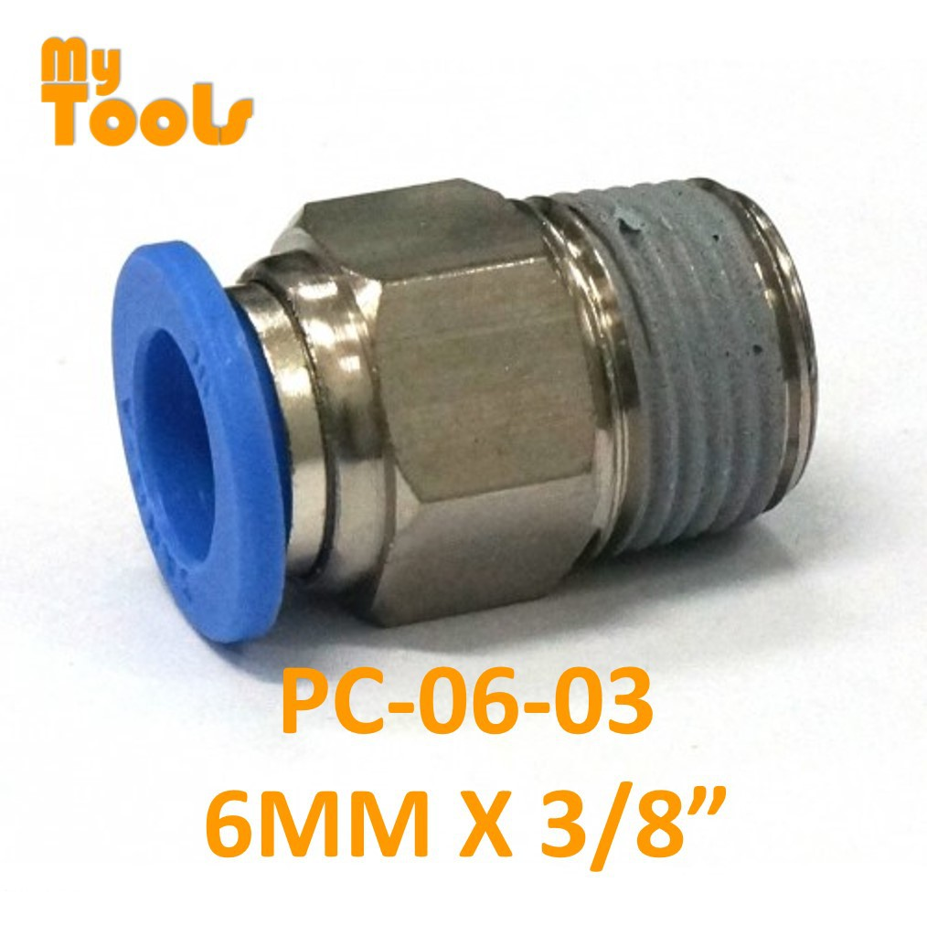 """Mytools PC 6mm x 1/4"""" , 3/8"""" , 1/2"""" Threaded Tubing Tube Adapter Joint Connector Push In One Touch Pneumatic Air Quick"""