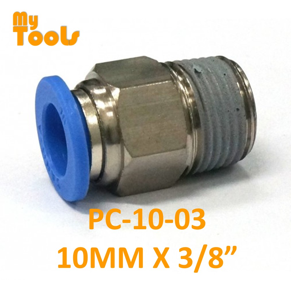 "Mytools PC 6mm x 1/4"" , 3/8"" , 1/2"" Straight Threaded Tubing Tube Adapter Joint Connector Push In One Touch Pneumatic Air Quick Fittings"