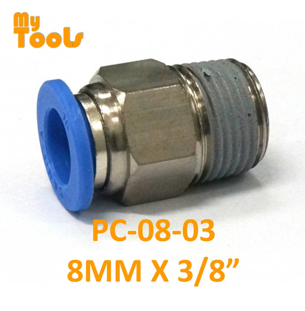 """Mytools PC 8mm x 1/4"""" , 3/8"""" , 1/2"""" Straight Threaded Tubing Tube Adapter Joint Connector Push In One Touch Pneumatic Air Quick Fittings"""