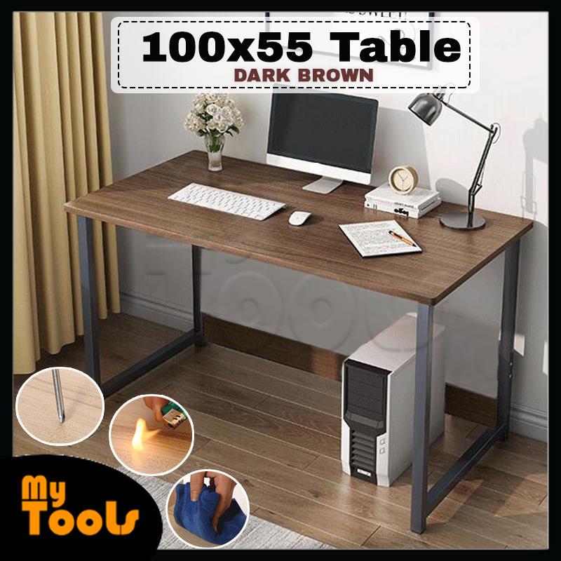Mytools Simple Wooden Computer Desktop Laptop Desk Home Office Study Table With Steel Frame