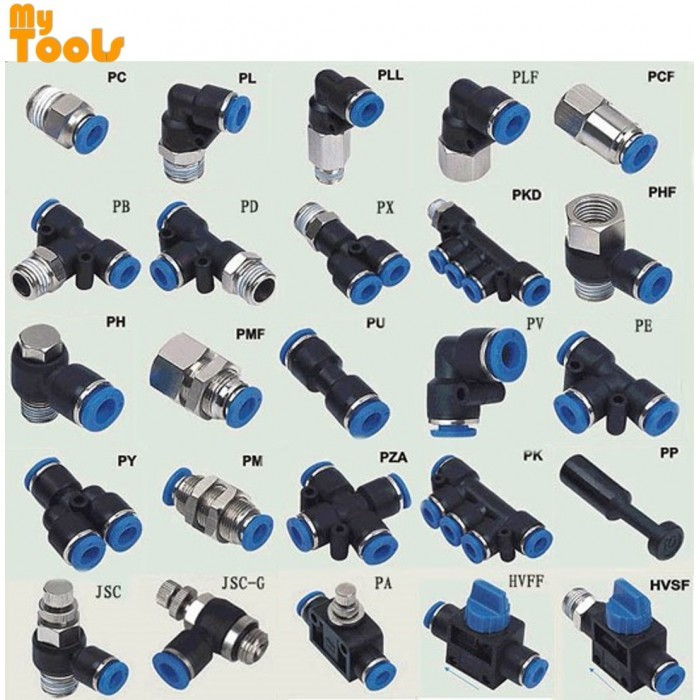 "Mytools PB 8mm x 1/4"" , 3/8"" , 1/2"" PB8 Male Threaded Tee Tubing Tube Adapter Joint Connector Push In One Touch Pneumatic Air Quick Fittings"