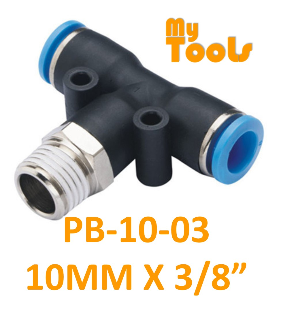"Mytools PB 10mm x 1/4"" , 3/8"" , 1/2"" PB10 Male Threaded Tee Tubing Tube Adapter Joint Connector Pneumatic Air Fittings"
