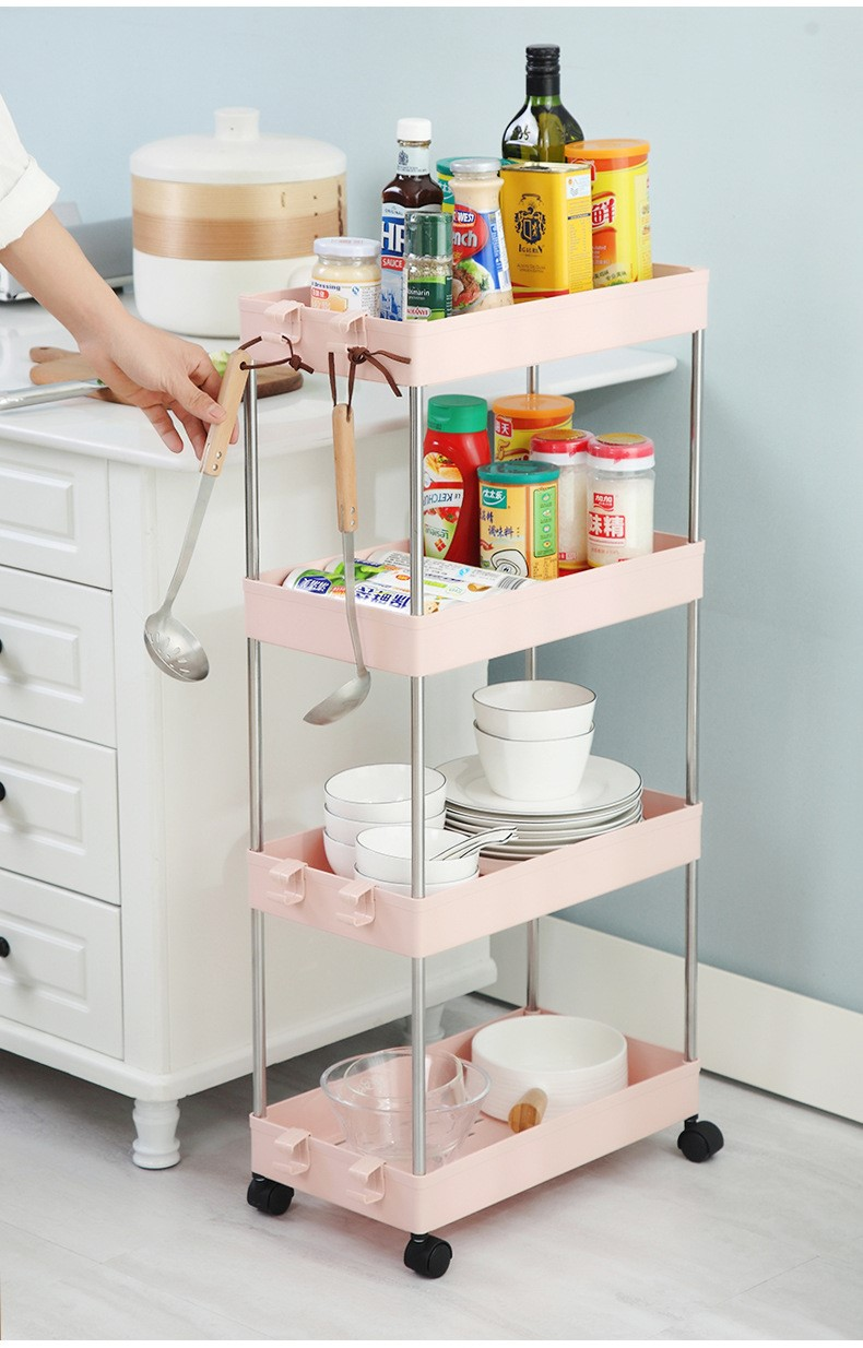 Mytools 4 Tiers Kitchen Bathroom Rack Wide & Slim Space Saver Storage Shelf Toilet Rack w Wheel