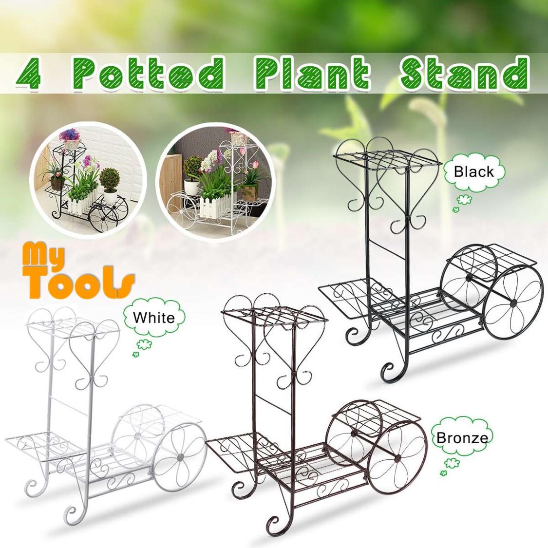 Mytools 4 layer Metal Plant Stand Iron Flower Pot Stand Rack Shelves Display Floor Standing Indoor Outdoor Flowerpot Stand Iron Holder
