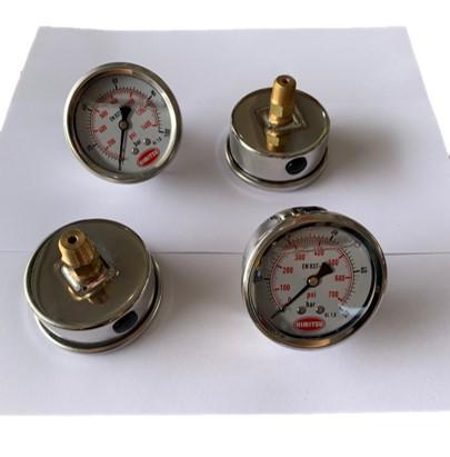 "HIMITZU 2-1/2"" X 1/4"" Oil Filled Water Air Pressure Gauge NPT Center Back Mount 20 / 50 / 100 / 200 BAR"