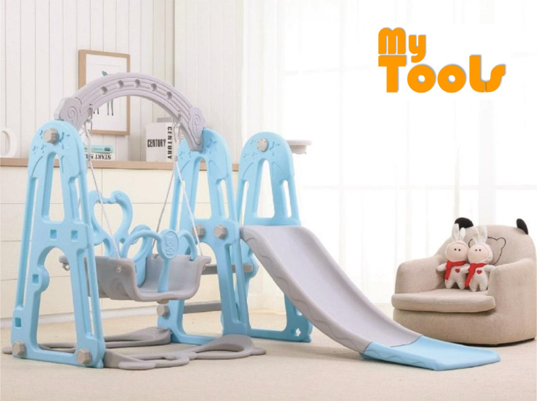 Mytools 3 IN 1 Swing Children Slide Kids Slide With Basketball Net Indoor Outdoor Colorful Mini Playground (BLUE)