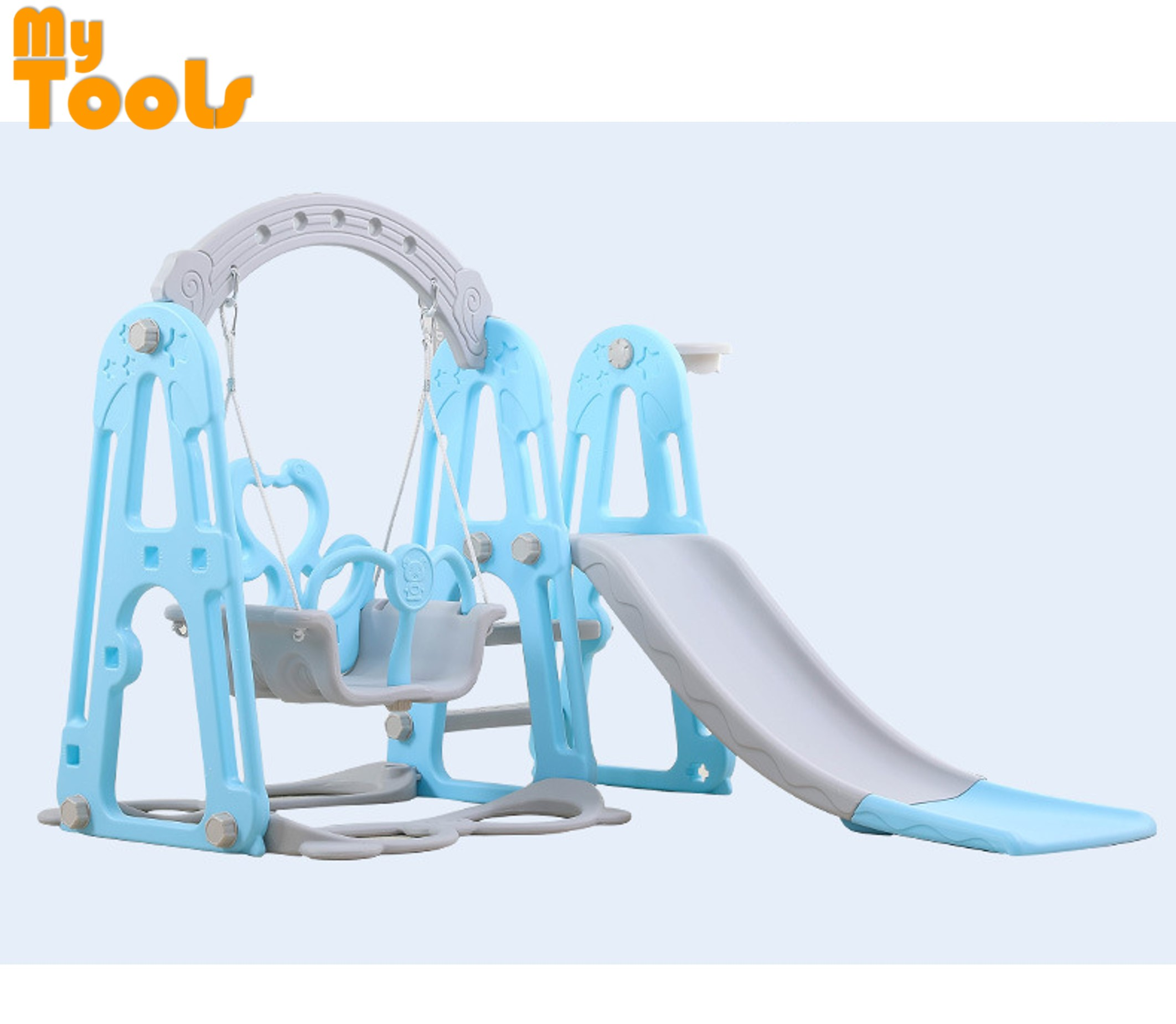 Mytools 3 IN 1 Swing Children Slide Kids Slide With Basketball Net Indoor Outdoor Colourful Mini Playground (BLUE)
