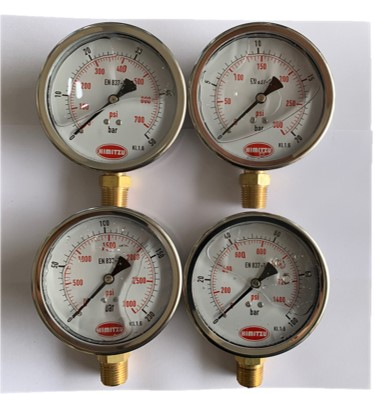 "HIMITZU 4"" X 1/2"" Oil Filled Water Air Pressure Gauge Stainless Steel Face, Brass NPT Lower Mount Connection 20 / 50 / 100 / 200 BAR"