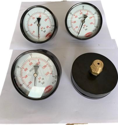 "HIMITZU 4"" X 1/2"" Water Air Pressure Gauge Brass NPT Center Back Mount Connection 20 / 50 / 100 / 200 BAR"