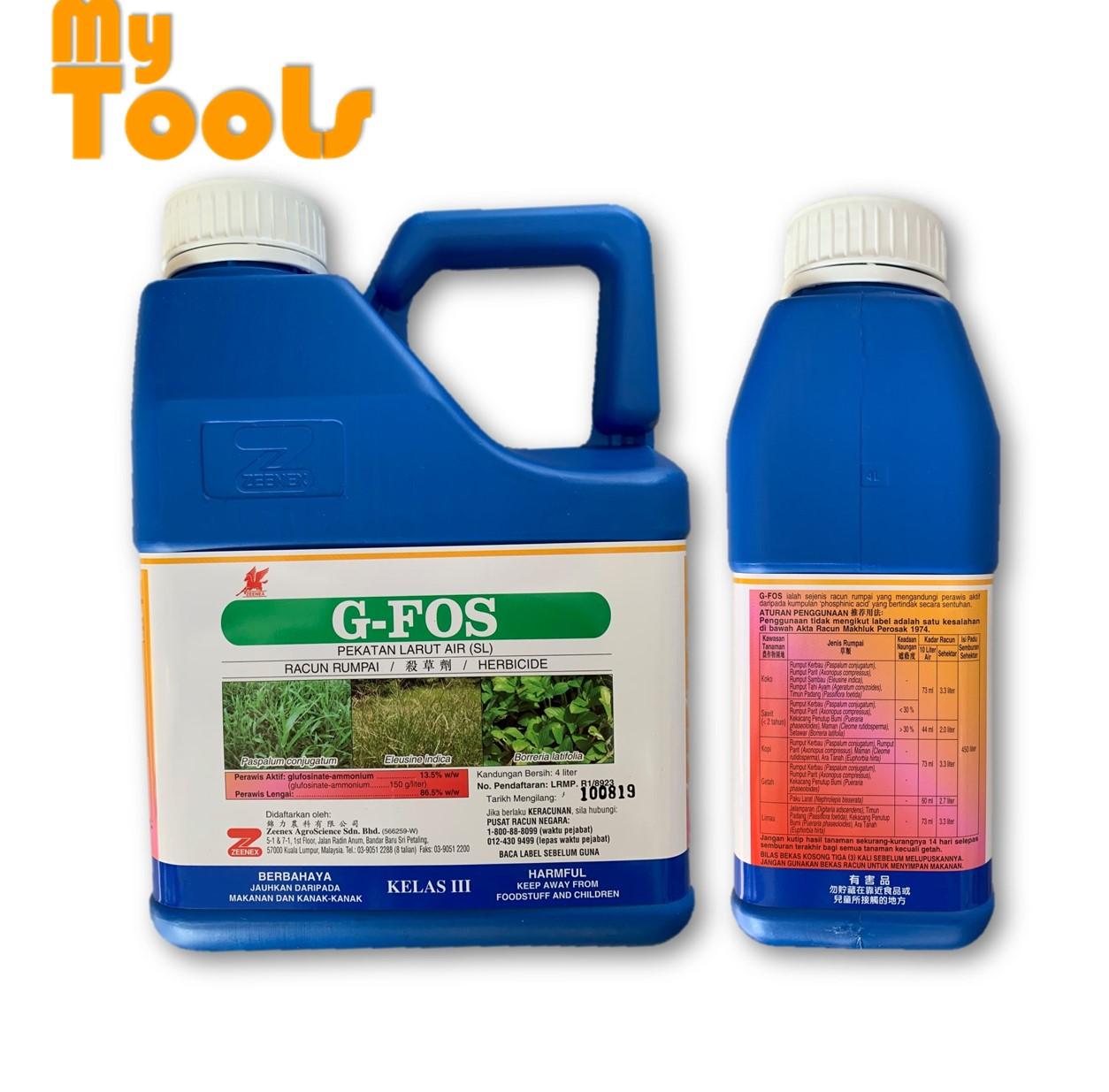 4 Liter 4L ZEENEX G-FOS Glufosinate ammonium 13.5 % w/w Basta Herbicide Class 3 Racun Rumput/ Rumpai (Weeds Control)