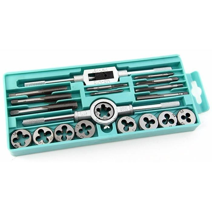 20Pcs Tap And Die Set Metric Hardware Tool Combination With Adjustable Tap Wrench