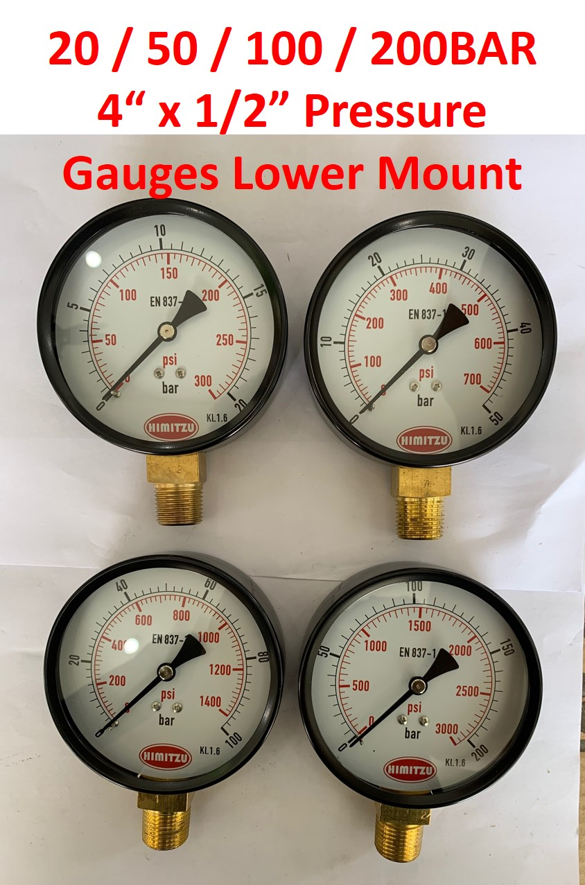 "HIMITZU 4"" X 1/2"" Water Air Pressure Gauge Brass NPT Lower Mount Connection 20 / 50 / 100 / 200 BAR"