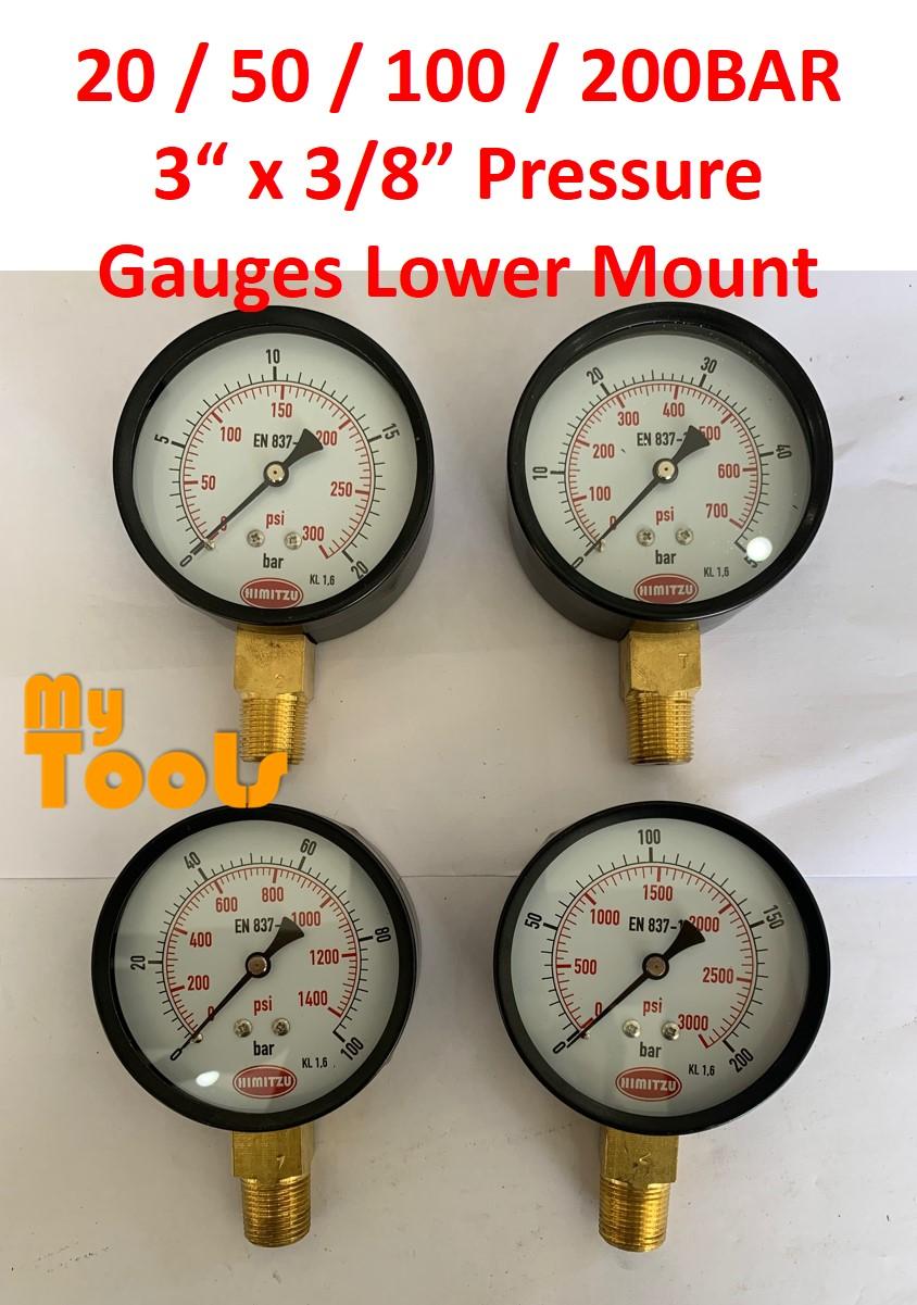 "HIMITZU 3"" X 3/8"" Water Air Pressure Gauge Brass NPT Lower Mount Connection 20 / 50 / 100 / 200 BAR"