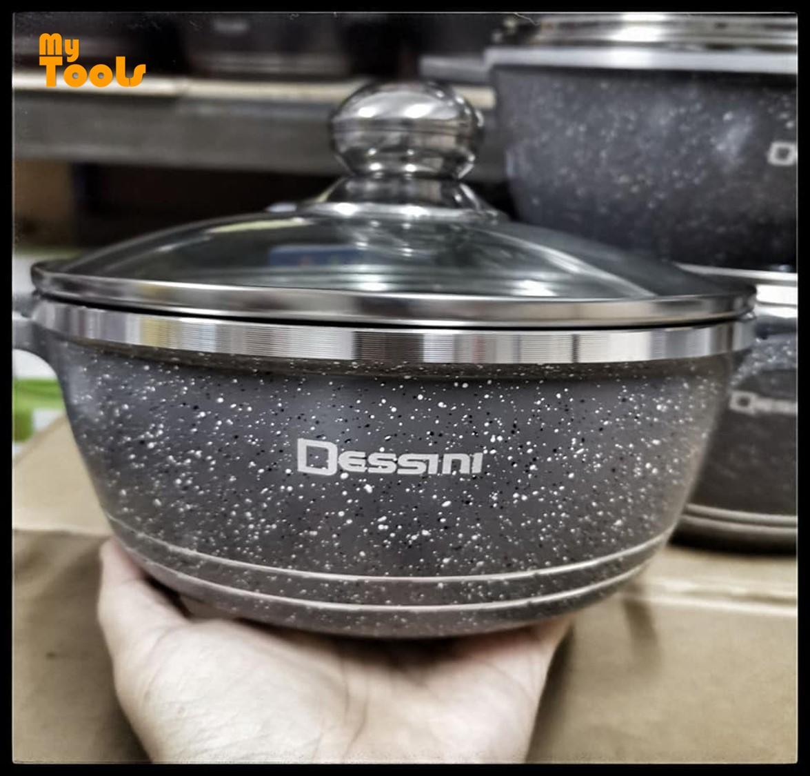 Mytools 10pcs Dessini Italy Cooking Set High Class Non Stick Ceramic Cookware Pot (Full Glass Lid)