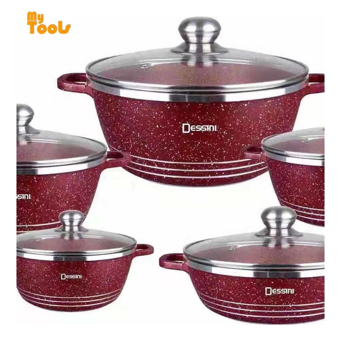 Mytools 10pcs Dessini Italy Cooking Set High Class Non Stick Ceramic Cookware Pot Full Glass Lid