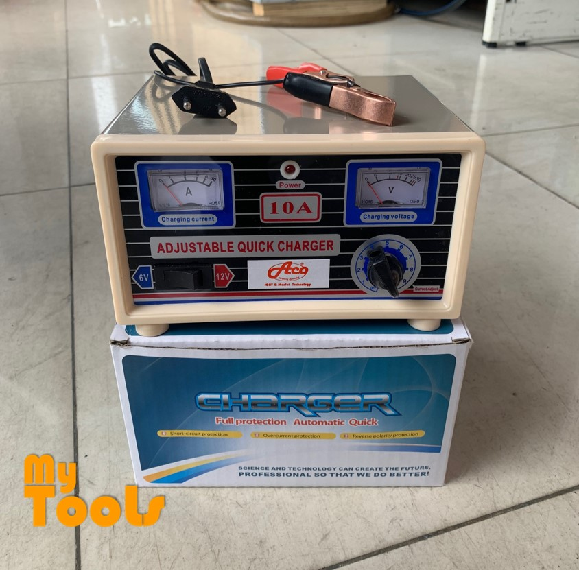 Mytools 6V 12V 10Amp 10A Battery Charger with Reverse Connection and Short Circuit Protection