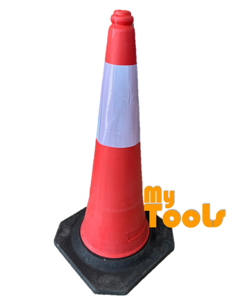 Mytools Safety Cone 750mm / 30 inch Traffic Cone W Rubber Based & Big Reflective Sticker