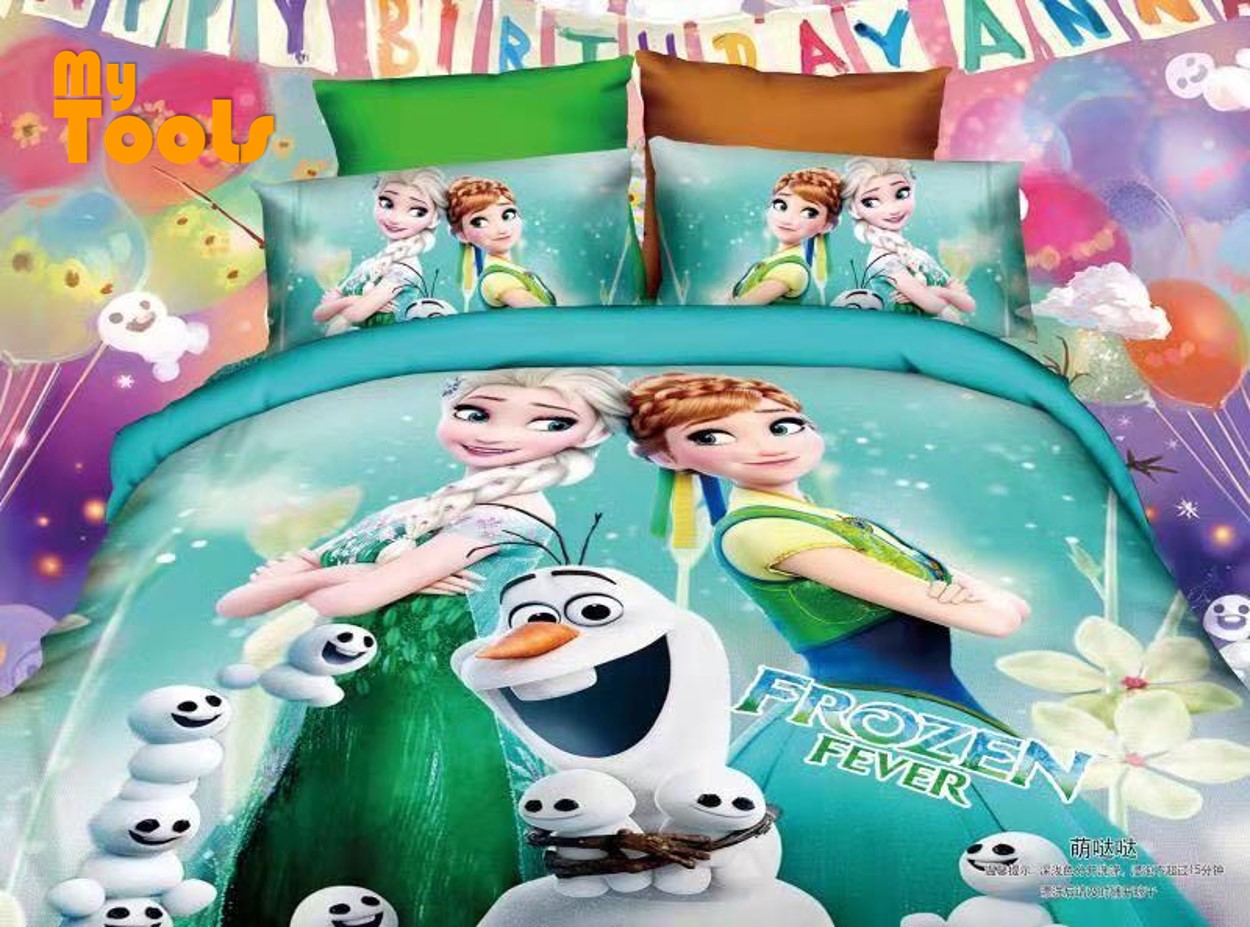 Mytools 4 In 1 100% Cotton Premium Kids Cartoon Superhero Bed Sheet Queen Size / King / Single Fitted Bedsheet / Cadar c/w Pillow Case & Bolster