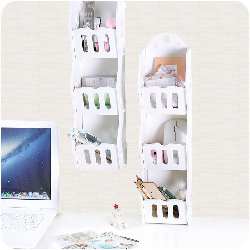 Mytools 3 Tiers Grids Wall Hanging WPC Wood Plastic Board Rack Bathroom Wall Shelf Desktop Storage Kitchen Racks Cosmetic Organizer